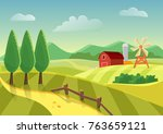 cartoon vector farm landscape... | Shutterstock .eps vector #763659121