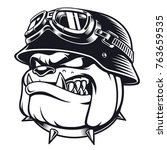 vector face of bulldog biker... | Shutterstock .eps vector #763659535