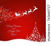 xmas postcard fir tree border... | Shutterstock . vector #763660717