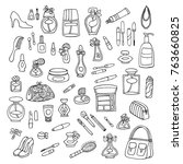 hand drawn cosmetic tools ... | Shutterstock .eps vector #763660825