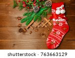 christmas red sock and the... | Shutterstock . vector #763663129