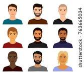 vector illustration set of male ... | Shutterstock .eps vector #763665034