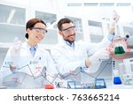 science  chemistry and people... | Shutterstock . vector #763665214