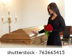 burial  people and mourning... | Shutterstock . vector #763665415