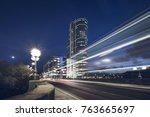 dusk in leeds  uk. traffic... | Shutterstock . vector #763665697