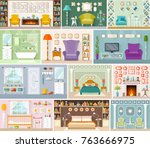 a set of rooms for various... | Shutterstock .eps vector #763666975