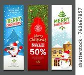 merry christmas  banners design ... | Shutterstock .eps vector #763667857