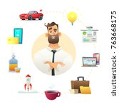 man icon thith business object... | Shutterstock .eps vector #763668175