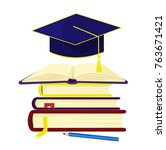 a stack of books over which the ... | Shutterstock .eps vector #763671421