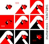 set of abstract woman portraits.... | Shutterstock .eps vector #763671841