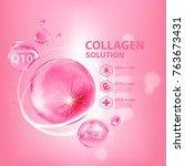 collagen serum skin care... | Shutterstock .eps vector #763673431