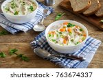 chicken and wild rice soup.... | Shutterstock . vector #763674337