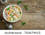 chicken and wild rice soup.... | Shutterstock . vector #763674415