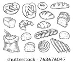 hand drawn bread vector set... | Shutterstock .eps vector #763676047