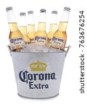 Small photo of IRVINE, CALIFORNIA -NOVEMBER 27, 2017: Bucket of Corona Extra Beer Bottles. Corona is the most popular imported beer in the USA.