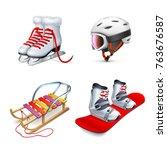wooden sled  snowboard skates... | Shutterstock .eps vector #763676587