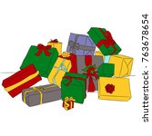 bunch of presents on christmas. | Shutterstock .eps vector #763678654