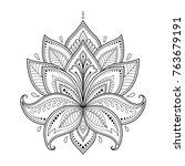 mehndi lotus flower pattern for ... | Shutterstock .eps vector #763679191