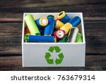 used aa and proper disposal of... | Shutterstock . vector #763679314