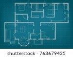 blueprint floor plan of the... | Shutterstock . vector #763679425