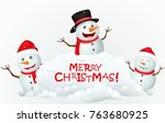 merry christmas with snowman... | Shutterstock . vector #763680925