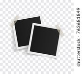 square photo frames on sticky... | Shutterstock .eps vector #763681849