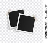 square photo frames on sticky... | Shutterstock .eps vector #763681849