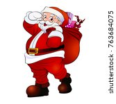santa claus carrying sack of... | Shutterstock .eps vector #763684075
