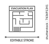 evacuation plan linear icon.... | Shutterstock .eps vector #763691341