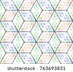 colorful seamless rhombus... | Shutterstock . vector #763693831