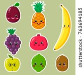 cute cartoon fruit symbols set... | Shutterstock .eps vector #763694185