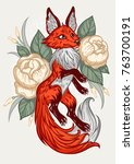 fox on floral in vintage style. ... | Shutterstock .eps vector #763700191