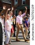 Small photo of Ottawa, Canada - August 27, 2017: Prime Minister Justin Trudeau, Mayor Jim Watson, Ontario Premier Kathleen Wynne and MPP Yasir Naqvi walk through Gladstone Avenue during the LGBTQ Pride Parade.