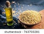 oil of trigonella foenum... | Shutterstock . vector #763703281