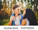 stylish young family mom  dad...   Shutterstock . vector #763705054