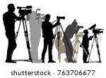 press conference  interview.... | Shutterstock .eps vector #763706677