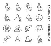 set of premium human icons in... | Shutterstock .eps vector #763708471