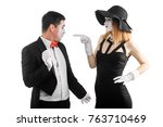 woman is pointing at man and... | Shutterstock . vector #763710469