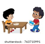kid eating and talking with... | Shutterstock .eps vector #763710991