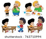 set of kid eating delicious... | Shutterstock .eps vector #763710994