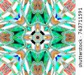 colorful kaleidoscopic pattern... | Shutterstock . vector #763711591