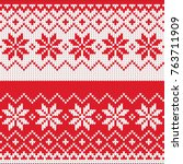 merry christmas wool knitted... | Shutterstock .eps vector #763711909