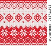 merry christmas wool knitted... | Shutterstock .eps vector #763711915