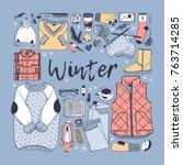 hand drawn fall fashion... | Shutterstock .eps vector #763714285