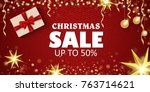 christmas sale on a beautiful... | Shutterstock .eps vector #763714621