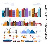 set of urban flat buildings of... | Shutterstock .eps vector #763716895