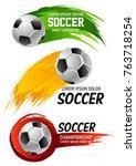 soccer game championship ball... | Shutterstock .eps vector #763718254