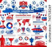 soccer infographic poster and... | Shutterstock .eps vector #763718269