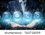 business man showing to contact ... | Shutterstock . vector #763718359