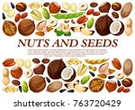 nuts and fruit seeds or beans... | Shutterstock .eps vector #763720429